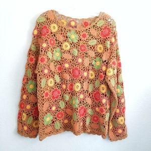 Vtg Handmade Floral Crochet Long Sleeve Top